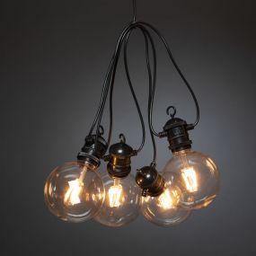 Konstsmide - decoratieve lichtsnoer met dimfunctie - 9,15 meter lengte plus 10,85 meter snoer - 10 LED-lampen incl. - IP44 - zwart