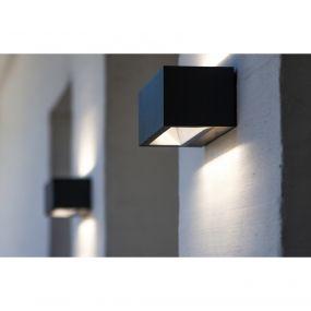 Lutec Gemini - buiten wandlamp - 22 x 10 x 8 cm - 20W LED incl. - IP54 - donkergrijs - wit