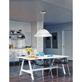 Nova Luce Prego - hanglamp - Ø 40 x 100 cm - albast en chroom