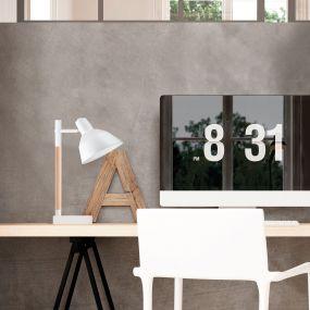 Nova Luce Dunik - bureaulamp - 16 x 16 x 48 cm - wit en bruin