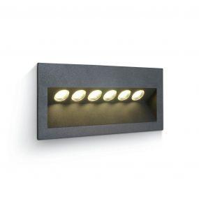 ONE Light Outdoor Wall Recessed - inbouw wandverlichting - 23,5 x 8 x 10,5 cm - 6 x 1W LED incl. - IP65 - antraciet