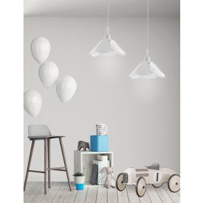 Nova Luce Udine - hanglamp - Ø 25 x 100 cm - wit