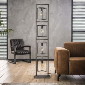 Vico Cubic Tower - staanlamp - 160 cm - oud zilver