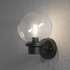 Konstsmide Nemi Up - wandverlichting met schemerschakelaar - 27 x 29 x 20 cm - IP44 - zwart