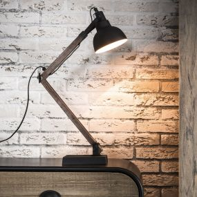 Vico Vintage Wood - bureaulamp - 60 cm - zwart (einde reeks)