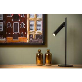 Lucide Philon - tafellamp - Ø 13 x 42 cm - 4,5W dimbare LED incl. - zwart