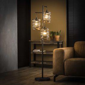 Vico Spindle - staanlamp - 37 x 29 x 150 cm - leisteengrijs