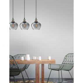 Nova Luce Cedro - hanglamp 3L - 80 x 130 cm - gerookt glas