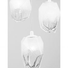 Nova Luce Ice - hanglamp - Ø 29 x 180 cm - wit en transparant
