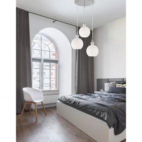 Nova Luce Odell - hanglamp - Ø 37 x 120 cm - opaal en chroom