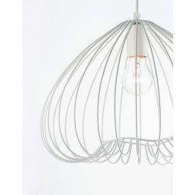 Nova Luce July - hanglamp - Ø 37 x 130 cm - wit