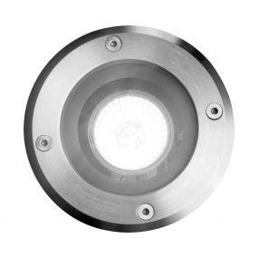 Lichtkoning Hades - ronde grondspot voor buiten - Ø 11 x 15 cm - IP67 - mat chroom