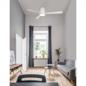 Nova Luce Silky - plafondventilator - Ø 132 x 25 cm - 18W LED incl. - mat wit