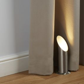 Searchlight Uplighter - vloer/tafellamp - 22,3 cm - satijn zilver