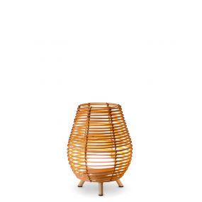 New Garden Bossa 30 -  tafellamp met draagbare oplaadbare lichtbron en afstandsbediening - Ø 22,5 x 32,5cm - 9W LED incl. - IP54 - rotan