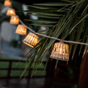 New Garden Aurora - lichtslinger - 8 meter slinger waarvan 3 meter snoer - 10 LED-lampen incl. - IP44 - rotan