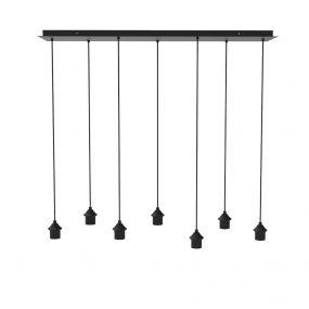 Artdelight - plafondplaat voor 7 lichtpunten incl. pendels - 120 x 30 cm - zwart