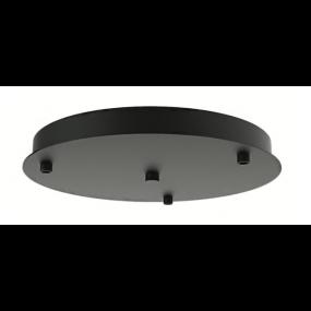 Artdelight - plafondplaat voor 3 lichtpunten -Ø 30 x 3 cm - zwart