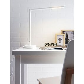 Lucide Bergaled - bureaulamp - 80 cm - 6W dimbare LED incl. - wit
