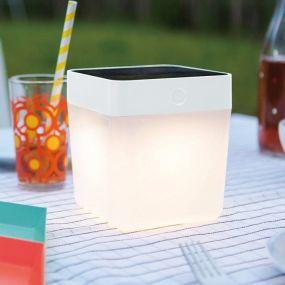 Lutec Table Cube - buiten tafellamp op zonne-energie - 12 x 12 x 13 cm - 3 stappen dimmer - 1W LED incl. - IP44 - wit